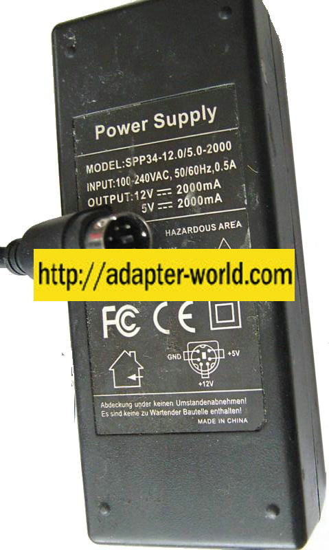 SPP34-12 0/5 0-2000 AC ADAPTER 5VDC 12VDC 2000mA POWER SUPPLY 6P