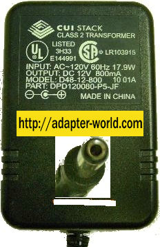 CUI D48-12-800 AC ADAPTER 12VDC 800mA 19W LINEAR POWER
