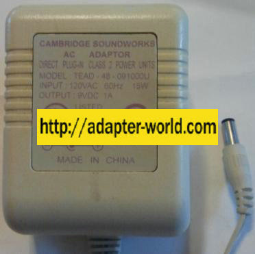 CAMBRIDGE TEAD-48-091000U AC ADAPTER 9VDC 1A NEW 2 x 5 5 x